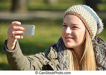 prendre, girl, selfie