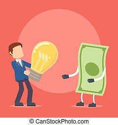 prendre, homme affaires, idée, argent