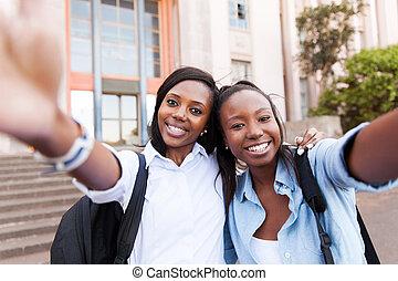 prendre, jeune, collège, portrait, amis, soi
