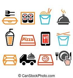 prendre, livraison, conception, sushi, icônes, pizza, nourriture chinoise, repas, vecteur, barre, ensemble, loin, boîte