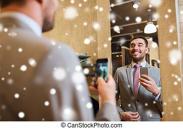 prendre, miroir, complet, habillement, selfie, magasin, homme