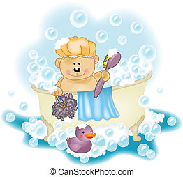 prendre, ours peluche, bain