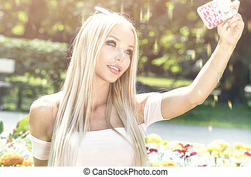 prendre, park., selfie, jeune fille