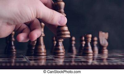 prendre, planche, échecs, position, bon