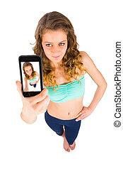 prendre, selfie, adolescent