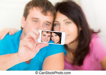 prendre, selfie, amour, couple