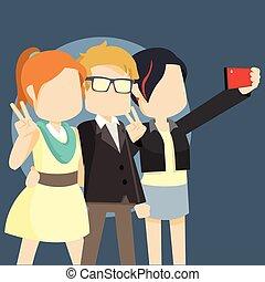 prendre, selfie, célébrité, trois