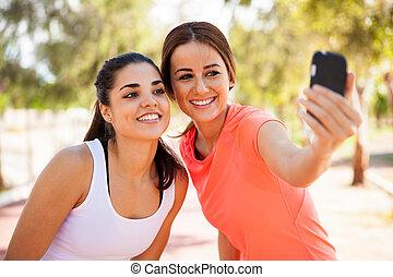 prendre, selfie, coureurs