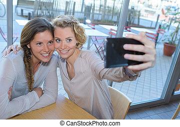prendre, selfie, femmes