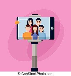 prendre, selfie, gens