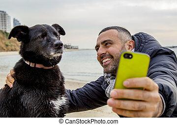 prendre, selfie, grincheux, chien