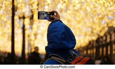 prendre, selfie, homme