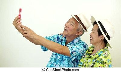 prendre, selfie, personne agee, touriste, asiatique