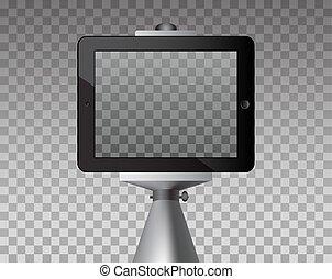 prendre, selfie, photo, à, stick., transparence, arrière-plan.