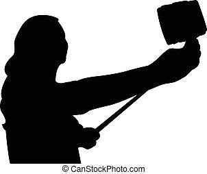 prendre, selfie, photo