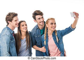 prendre, smartphone, amis, selfie