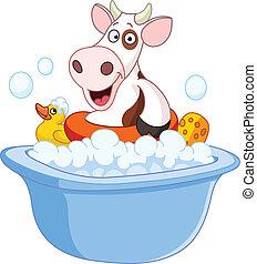 prendre, vache, bain