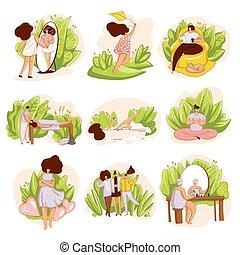 prendre, vous-même, vecteur, spa, masage, happyness, bathing...