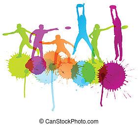 preneur, gens, illustration, disque, lanceur, vecteur, fond, actif, sport