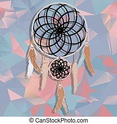 preneur, polygonal, fond, rêve, beau, triangles.