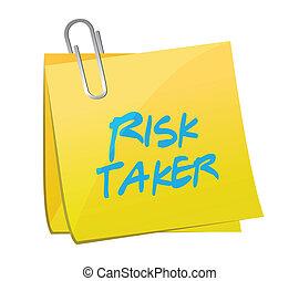 preneur, risque, illustration, conception, poste, message