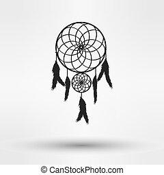 preneur, silhouette, couleur, isolé, illustration, arrière-plan., vecteur, noir, blanc, rêve