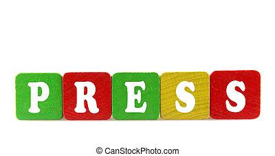 prensa, -, aislado, texto, en, de madera, componentes básicos