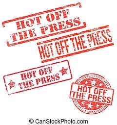 prensa, caliente, de, sellos