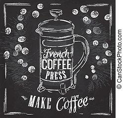 prensa, cartel, café, tiza, francés