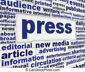 prensa, cartel, diseño
