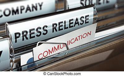 prensa, comunicación, compañía, liberación, medias