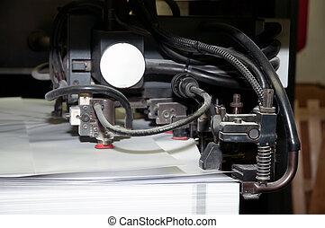 prensa, impresión, -, compensación, máquina