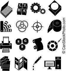 prensa impressão, ícones, jogo