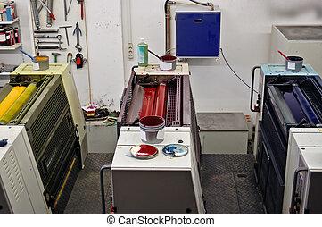 prensa impressão, cores
