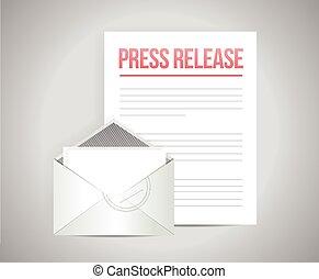 prensa, liberación, mensaje, correo
