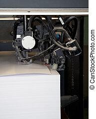 prensa, máquina, impresión, -, compensación