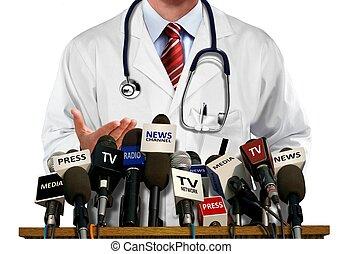 prensa, medios, doctor, conferencia