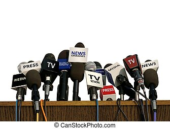 prensa, y, medios, conferencia