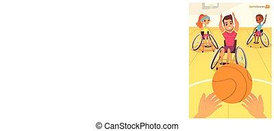 preoccupare, bambini, Persone,  handicap, concetto, ragazze, scuola, riabilitazione, invalido, palestra,  first-person,  baysball,  handisport, sedie rotelle, vista, gioco, medico, ragazzi