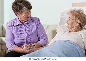 preoccupare, circa, sorella, donna, anziano