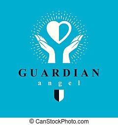 preoccupare, cuore, concetto, amore, angelo, tutore, emblem., treatment., vettore, mani, concettuale, presa
