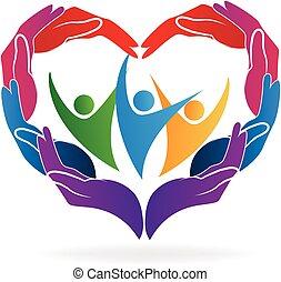 preoccupare, cuore, mani, amore, persone