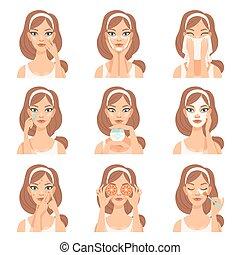 preoccupare, donna, lei, bellezza, giovane, illustrazione, faccia, cosmetica, vettore, attraente, facciale, routine, passi, procedure, trattamento