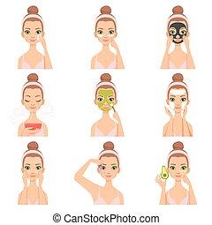 preoccupare, donna, lei, bellezza, set, cosmetica, pelle, giovane, illustrazione, faccia, vettore, trattamento, facciale, routine, passi, procedure, attraente