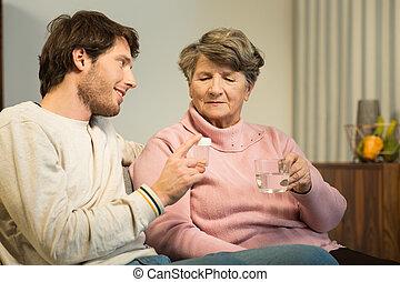 preoccupare, donna senior, nipote