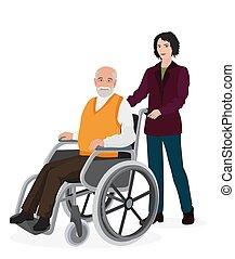 preoccupare, donna, vecchio, wheelchair., giovane, invalido, volontario, uomo