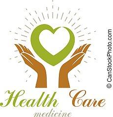 preoccupare, grafico, cuore, omeopatia, concept., simbolo., creativo, vettore, tenere mani, carità, logo., volontario