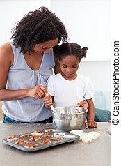 preoccupare, madre, porzione, lei, ragazza, cottura, biscotti