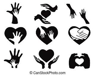 preoccupare, mani, set, icone
