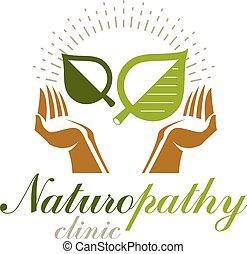 preoccupare, mani, uso, emblema, centro, wellness, astratto, moderno, leaves., advertisement., tema, verde, presa a terra, primavera, medico, sociale